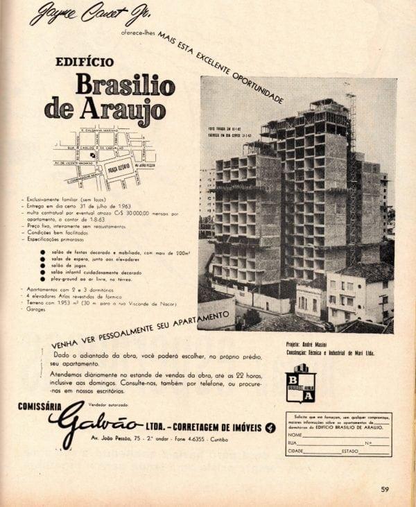 Anúncio de venda dos apartamentos do Edifício Brasílio Araújo em 1960.