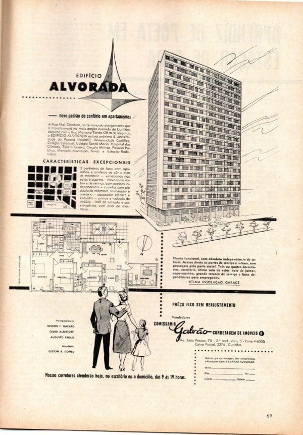 Anúncio de venda dos apartamentos do Edifício Alvorada em 1960.