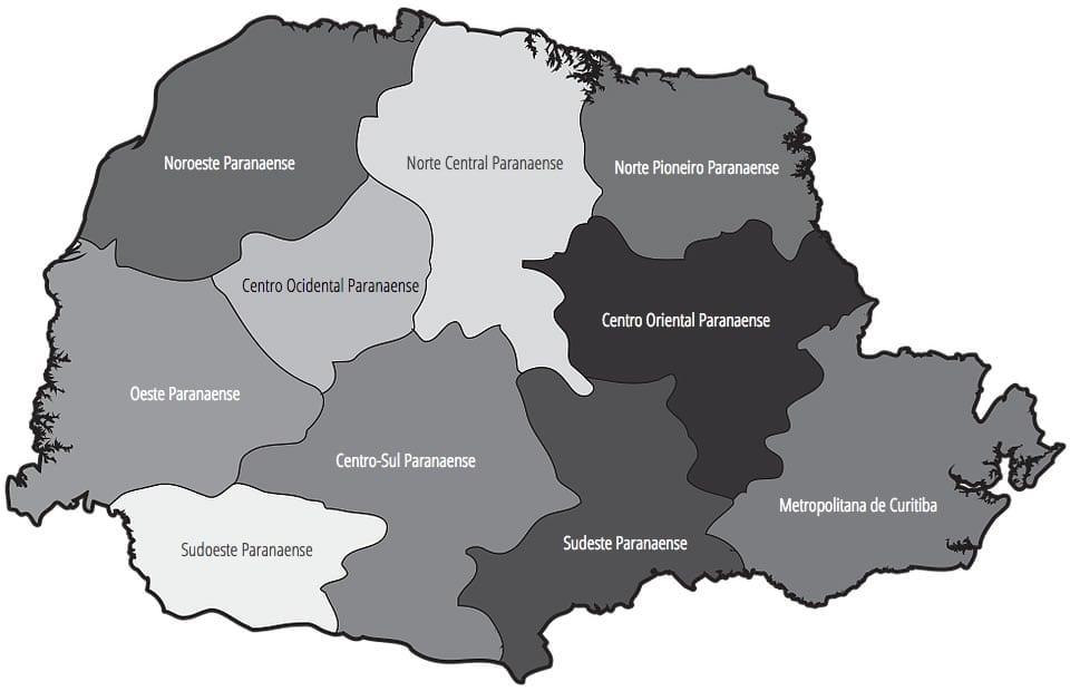 Mapa das mesorregiões do estado do Paraná