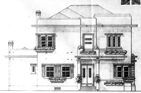 Fachada Frontal da antiga Residência Alberto Murray. fonte: Alvará n.° 1.167, 23/04/1935 - PMC.