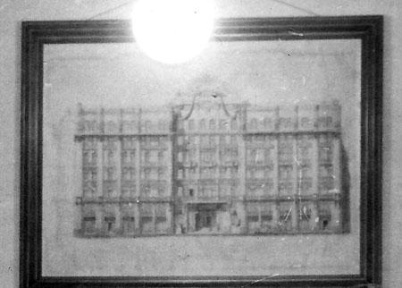 Fachada da sede do Banco Nacional do Comércio (não executada) - detalhe da foto no escritório de Eduardo Fernando Chaves, em 1943.acervo: Eduardo Fernando Chaves, sobrinho.