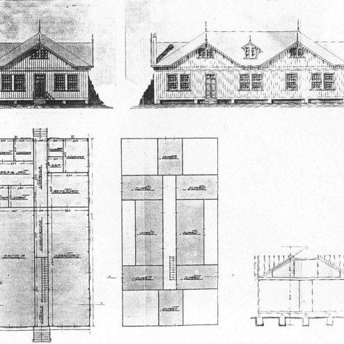 1 – Fachada, planta e corte dos pavilhões-escolas.