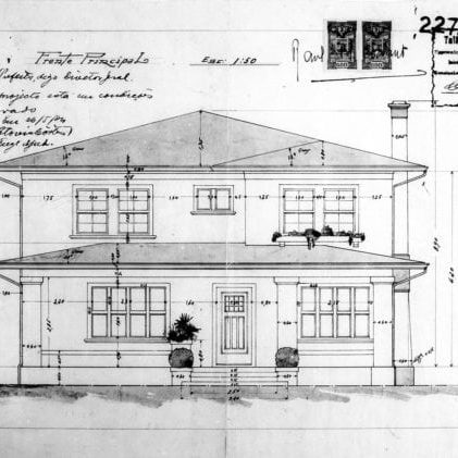 2 – Desenho das fachadas frontal e lateral direita.