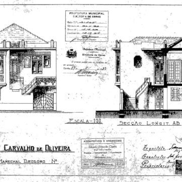 1 - Projeto Arquitetônico com a fachada do imóvel e corte.