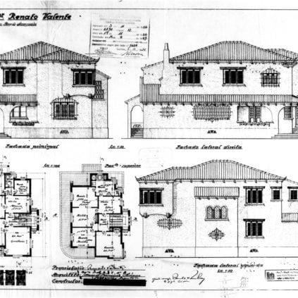 1 - Projeto Arquitetônico com fachada, laterais e plantas dos pisos.