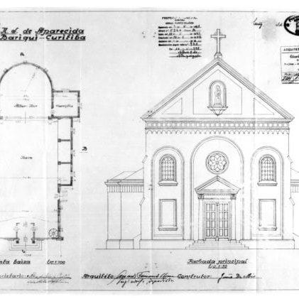 1 – Projeto Arquitetônico com fachada principal e planta - baixa da igreja.