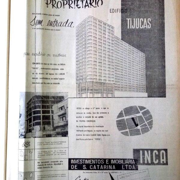 Anúncio de venda das unidades do Bloco 1 do Edifício Tijucas em 1955.