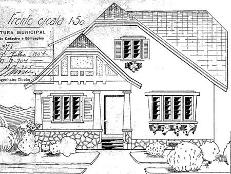 Fachada Frontal da antiga Residência Casemiro Mitzuck. fonte: Alvará n.° 658, 09/07/1934 - PMC.