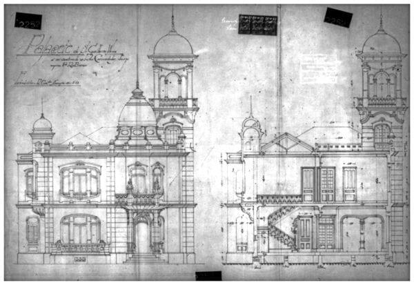 2 - Fachada principal e corte com detalhes do interior.