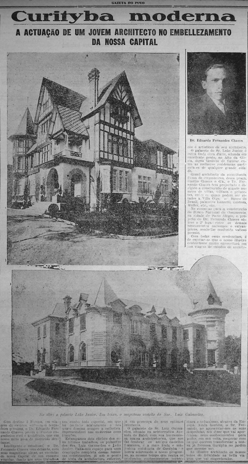 fonte: CURITYBA MODERNA – A actuação de um jovem architecto no embellezamento da nossa capital. In: Jornal Gazeta do Povo. Curityba, 22 de abril de 1928. p. 5.