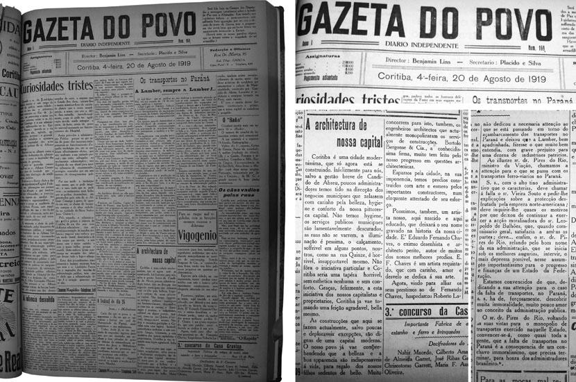 fonte: A ARCHITECTURA DE NOSSA CAPITAL. In: Jornal Gazeta do Povo. Coritiba, 20 de agosto de 1919.