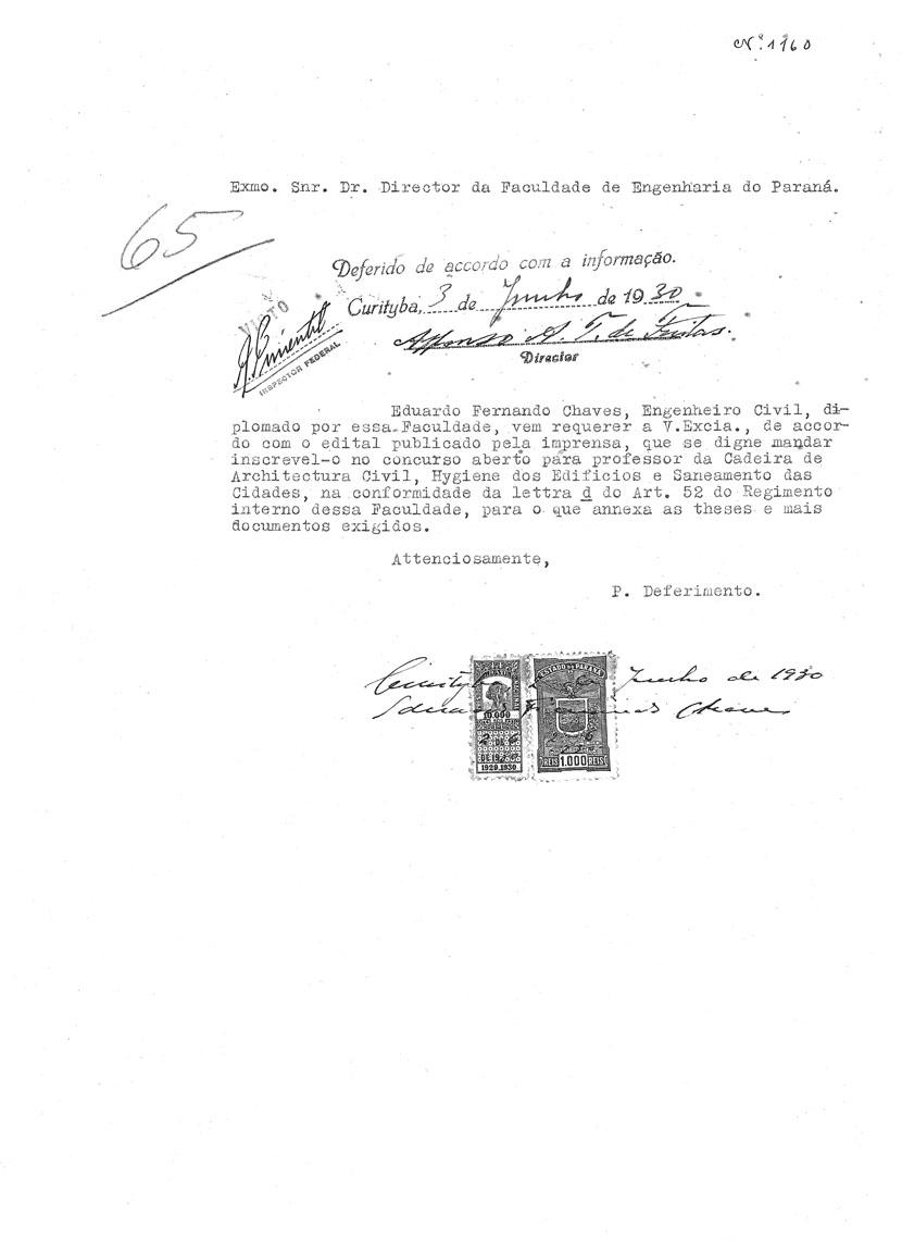 Inscrição de Eduardo Fernando Chaves no concurso para professor da Faculdade de Engenharia do Paraná – 3/6/1930.