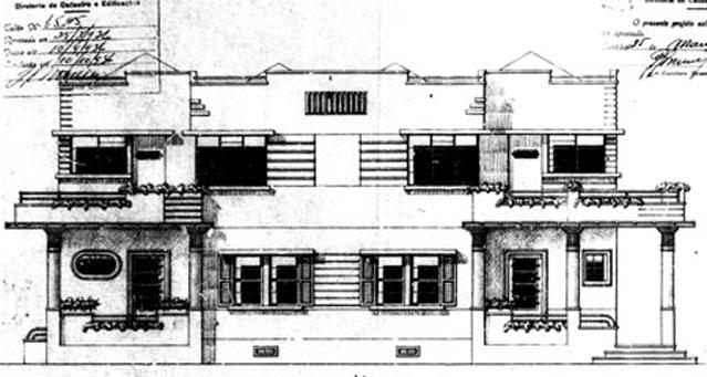 Fachada Frontal da antiga Residência Manoel da Rocha Kuster. fonte: Alvará n.° 1.839, 25/03/1936 - PMC.