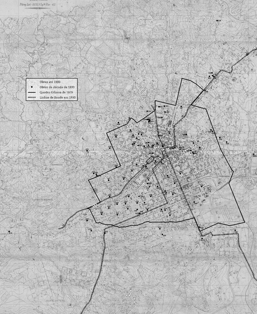mapa com a localização das obras entre 1912 e 1930