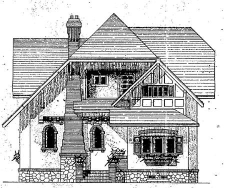 Fachada Frontal da antiga Residência Verner Beck. fonte: Alvará n.° 1.000, 11/02/1935 - PMC.